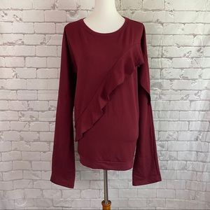 Darling Ruffled Sweatshirt Wine Color XXXL